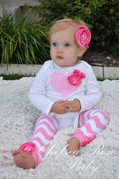 Baby Girl Chevron Heart bodysuit with a hot pink rose, Matching chevron headband, and Pink Chevron Leg Warmers set