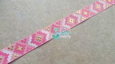 Aztec Ribbon Pattern on Pink US Designer 7/8 Grosgrain Ribbon, Gold Pattern, Pink Foil Ribbon, Grosgrain Ribbon, Jazzy Lu Ribbons, Glitter