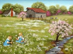Where Daisies Grow Folk Art Print Blond Girls Pink Tree Daisy Field Spring Summer Cow Barn Farm House Country Scene Flowers Arie Taylor by jagartist on Etsy