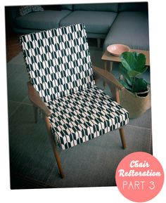 Restored lounge chair DIY arrows black and white geometric | Homely Creatures