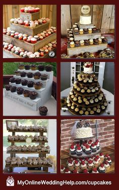 Good cupcake stands for the dessert tables. I love the bottom right best. It's made from tree wood slices. Can't you just see this at the barn wedding? Learn more or buy in the My Online Wedding Help products section. Rustic Cupcake Display, Wood Cupcake Stand, Rustic Cupcake Stands, Rustic Cupcakes, Cupcake Table, Cupcake Stand Wedding, Fun Cupcakes, Cupcake Cakes, Cupcake Stands For Weddings