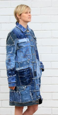 Sewing Projects Clothes Upcycling Refashioning Diy Fashion 54 Ideas - Image 18 of 24 Oversized Denim Jacket Outfit, Denim Hat, Jean Jacket Outfits, Denim Outfit, Denim Fashion, Boho Fashion, Fashion Quiz, 2000s Fashion, Fashion Men