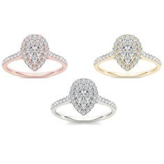 De Couer 10k Gold 3/4ct TDW Diamond Pear-Shaped Halo Engagement Ring (H-I, I2) (Rose Gold Size-6.5), Women's, Size: 6.5, Pink