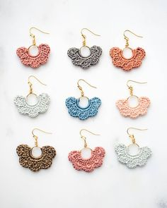 Introducing our new Tuscany Habanico earring collection! We were so inspired by the beautiful colors of Tuscany during our Italy roadtrip… Knitting For BeginnersKnitting FashionCrochet BlanketCrochet Scarf Crochet Jewelry Patterns, Crochet Earrings Pattern, Crochet Bracelet, Crochet Accessories, Diy Earrings, Earrings Handmade, Handmade Jewelry, Flower Earrings, Quilling Earrings