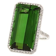 Tourmaline and Diamond Ring | From a unique collection of vintage more rings at http://www.1stdibs.com/jewelry/rings/more-rings/