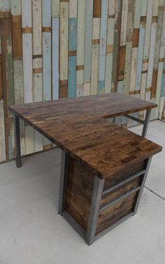 Rustic L-Shaped Desk w/ Cabinet Wood Butcher Top steel legs