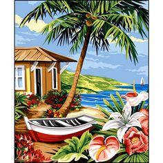 Cute Canvas Paintings, Canvas Art, Beach Scene Painting, Afrique Art, Hawaiian Art, Caribbean Art, Tropical Art, Surf Art, Summer Art