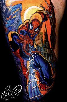 Tatuagem do super Herói Homem Aranha