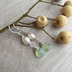 Aquamarine earrings  and Freshwater  pearls by ArarekoJewelryWoman