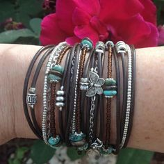 Boho Leather Wrap Bracelet// Tuquoise Gemstone Jewelry// Multistrand Beaded Leather Cuff// Bohemian Jewelry// Choose FOUR Charms - pinned by pin4etsy.com
