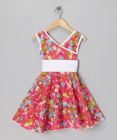 Take a look at this Pink & White Floral Surplice Dress - Toddler & Girls by Little Miss Fashion on #zulily today!