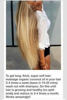 How to make your hair grow faster, keep it super soft & shiny hair while preventing from split ends by massaging coconut oil in your hair times per week. Alimentos para comer para un cabello saludable Grow Natural Hair Faster, How To Grow Your Hair Faster, Grow Long Hair, How To Make Hair, Grow Hair, Soft Hair, Shiny Hair, Curly Hair Styles, Natural Hair Styles