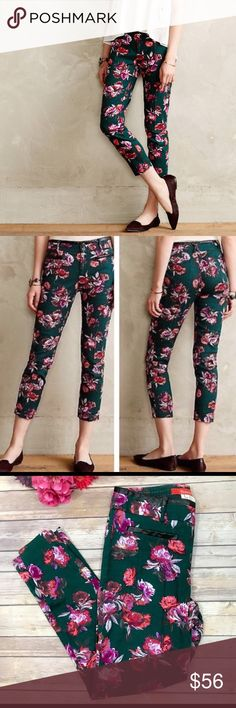 Cartonnier for Anthropologie Floral Ankle Pants Gently worn anthropologie floral charlie ankle trousers size 6 by Cartonnier. Cotton, rayon, spandex, slim tailored fit, front back welt pockets, machine washable size 6.  Gently used without tags. Black leather trim on waist and pockets.  Such a cute detail that will get lots of compliments! Anthropologie Pants Ankle & Cropped
