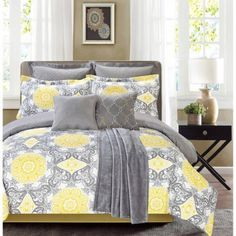 Yellow Grey White Simple Modern Bedding Sets – Ease Bedding with Style