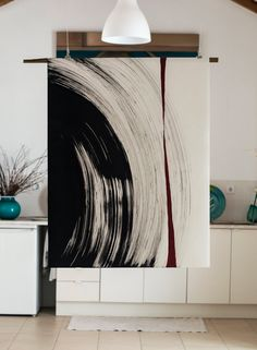 Original large black and white abstract ink art painting Wind Calligraphy Art, Diy Wall Art, Art Design, Acrylic Art, Ink Art, Diy Painting, Painting Inspiration, Large Black, Wall Art Prints