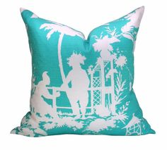 Thibaut South Sea pillow cover in Turquoise by OrangeOliveStudio