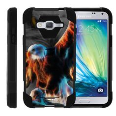 Samsung Galaxy J3 Case, Amp Prime Hard Case, Express Prime Case [SHOCK FUSION] High Resistant Fitted Hybrid Dual Layer Case with Hard Kickstand by Miniturtle® - Blazing Eagle