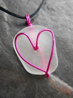 Sea Glass Jewelry - Heart Necklace - I HEART RI.