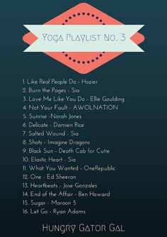 Hungry Gator Gal: Yoga Workout Playlist No. 3 . . . 30 songs on Spotify! (this image is part 1)