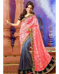 2 #Shades #Pink & #Grey #Faux #Georgette #Saree #Wedding ( RN 495 @Designer ) @ArtistryC  Click to shop www.ArtistryC.in  For Assistance call or Watsapp us on +91 9619659727