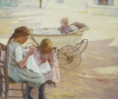 Helen McNicoll, Minding Baby, c. 1911, oil on canvas, 50.8 x 61 cm, private collection. #ArtCanInstitute #CanadianArt