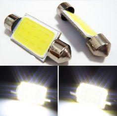 10X Bright White 36MM 12 Chips COB Festoon Dome Map LED Light Lamp Roof Bulb C5W