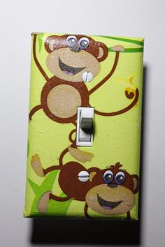 Cute Monkey Light Switch Cover kids child room decor green jungle nursery baby