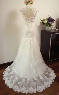 Custom Cap Sleeves Mermaid Sweetheart Neckline Lace Wedding Dress/Bridesmaids Dress/Prom Dress K078