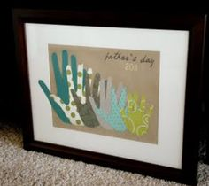 "{Father's Day} 10 Father's Day Crafts for Kids. I like this hands pic. It would be easy to do and instead of ""father's day"" it would be cute with just last name put on it and the year"