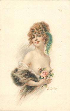 дама с выявлением FILMY обертку, розы в правой руке, голубой кисточкой и оголовья, стоит прямо смотрит фронт