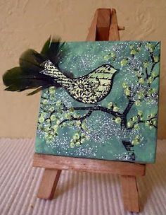Bird on a branch mini canvas