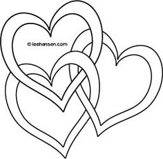 Hearts coloring sheet for Valentines Day, free printable joined hearts picture to color or use as tattoo design or digital stamp. Valentine Coloring Pages, Heart Coloring Pages, Coloring Books, Tattoo Photo, Celtic Patterns, Quilling Patterns, Scroll Saw Patterns, Stained Glass Patterns, Stencil Designs
