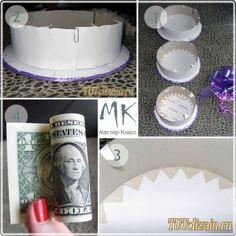 Money Cake 2 (Tutorial in Russian) Money Rose, Money Lei, Diy Christmas Gifts, Christmas Fun, Craft Gifts, Diy Gifts, Diy Graduation Gifts, Creative Money Gifts, Money Flowers