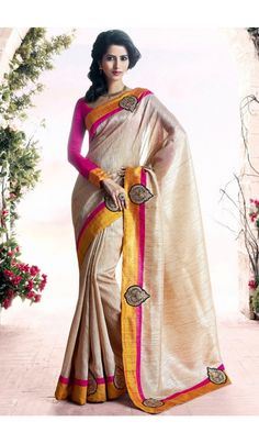 Appealing #Party Wear #Cream #Saree