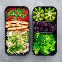 Vegan Chik'n & Pasta Bento . Here I made brown rice pasta with tomato basil marinara, sliced spicy boca chik'n, topped with shredded spinach, served with steamed broccoli, and fruit.Tanairí | Peas & Love Jewelry (@peaslovevegan) • Instagram photos and videos