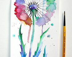Abstract flower painting Dandelion flower painting Abstract art Watercolor abstract painting Dandelion watercolor Modern Art