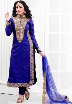 Great Blue Colored In Raw Silk Embroidered Suit With Dupatta