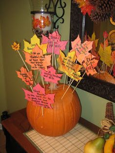 """Thanksgiving centerpiece: """"What We're Thankful For"""""""
