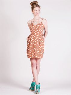 Flirty Polka Dotted Sundress - DR91617 - Camel | Shop Lush Clothing