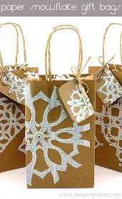 For party bags - blue paper bags, white snowflakes
