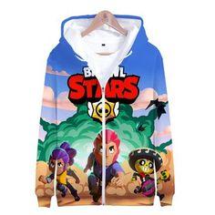 Unisex Brawl Stars Hoodies Long Sleeve Autumn Winter Sweatshirts Zip Up Clothes Tops Star Wars, Cheap Hoodies, Harajuku, Long Hoodie, Mens Sweatshirts, Zip Ups, Plus Size, Mens Fashion, Unisex