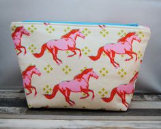 Pink Mustang Project Bag, sock sized, gifts for knitters, zipper pouch, makeup bag, horse, cotton and steel, metallic gold, pink blue, cream