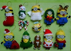 minions felt dolls - christmas ornaments