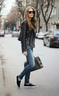 Leather Coat / Jacket with Jeans and Canvas Slip-ons / Shoes
