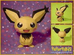 172 / SPIKY-EARED PICHU - Pokémon Papercraft  Name:  Pichu  Type:  Electric  Species:  Tiny Mouse Pokémon  Height:  0.3 m (1′00″)  Weight:  ...