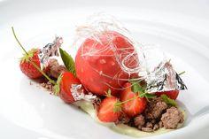 Strawberries and cream, garden mint