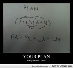 Foiled Plan - Math Humor...sometimes the plan just doesn't work out.