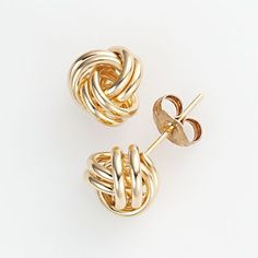 10k Gold Love Knot Stud Earrings (3/8-in. diameter)