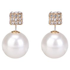 Double-Sided Studs in Pave and Pearl; $21.95