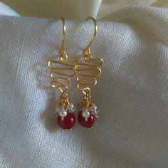 Zarcillos Coral y Perlas